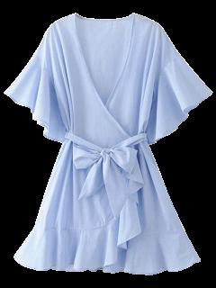 فستان قصير مخطط قصير التفاف - الضوء الأزرق S
