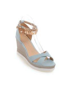 Wedge Heel Cross Strap Sandals - Blue 39