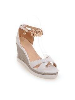 Wedge Heel Cross Strap Sandals - White 38