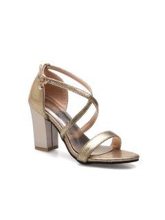 Cross Strap Rhinestone Sandals - Golden 37