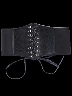 Criss Cross Lace Up Corset Belt - Black