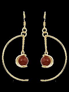 Faux Gem Bead Chain Circle Earrings - Red
