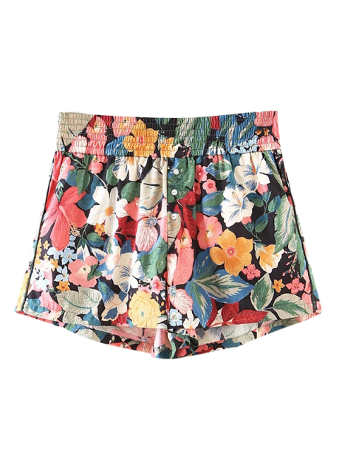 women Button Embellished Tropical Floral Shorts - FLORAL S Mobile
