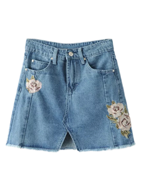 lady Front Slit Floral Embroidered Denim Skirt - DENIM BLUE S Mobile