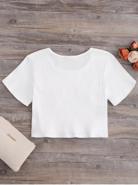 ladies Floral Patches Ribbed Crop Top - MILK WHITE S Mobile