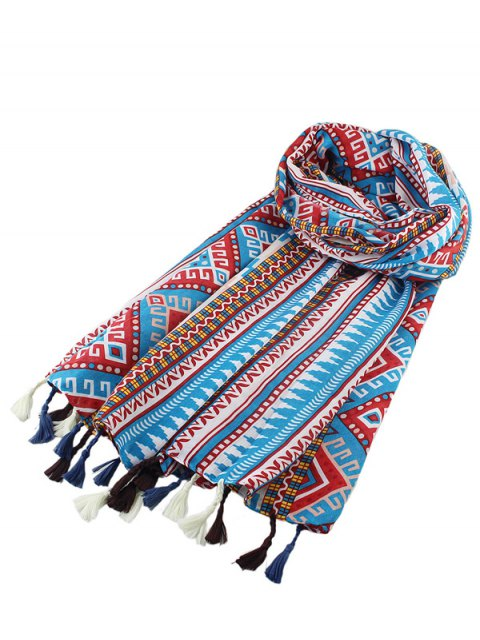 shops Geometric Print Ethnic Tassel Scarf - MULTICOLOR  Mobile