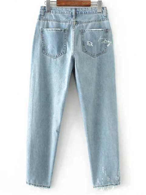 buy Cereus Embroidered Ripped Jeans - LIGHT BLUE S Mobile