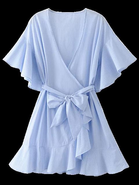 outfit Low Cut Short Striped Wrap Dress - LIGHT BLUE S Mobile