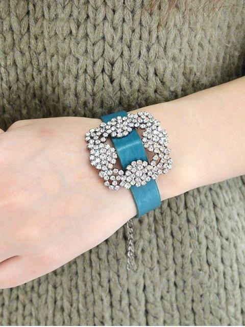 Bracelet en faux cuir avec fleur de strass - Bleu  Mobile