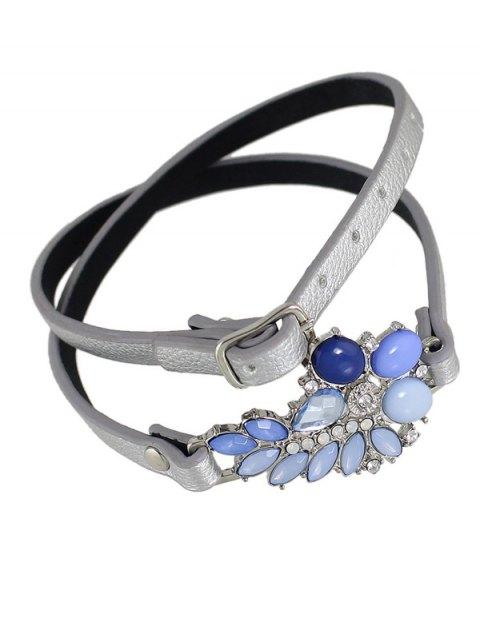 sale Faux Leather Gem Teardrop Bracelet - SILVER  Mobile