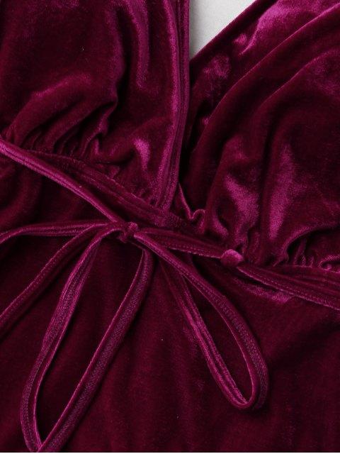 shop Belted Crushed Velvet Swimwear - CLARET XL Mobile