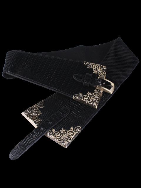 Ceinture de corset avec boucle métallique à épingle - Noir  Mobile