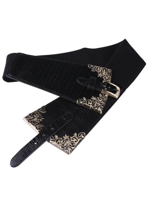 buy Metal Carve Pin Buckle Corset Belt - BLACK  Mobile