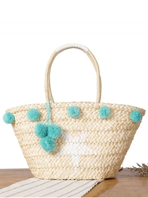 lady Star Print Pom Pom Straw Shoulder Bag - BLUE  Mobile