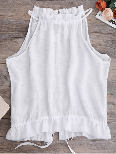 latest Tie Back Frilled Tank Top - WHITE S Mobile