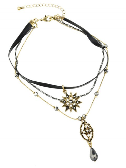 latest Layered Faux Gem Sun Pendant Choker - GOLDEN  Mobile