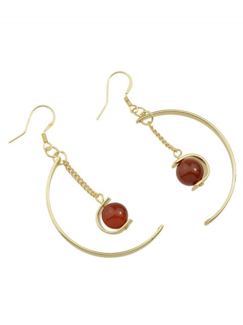 womens Faux Gem Bead Chain Circle Earrings - RED  Mobile
