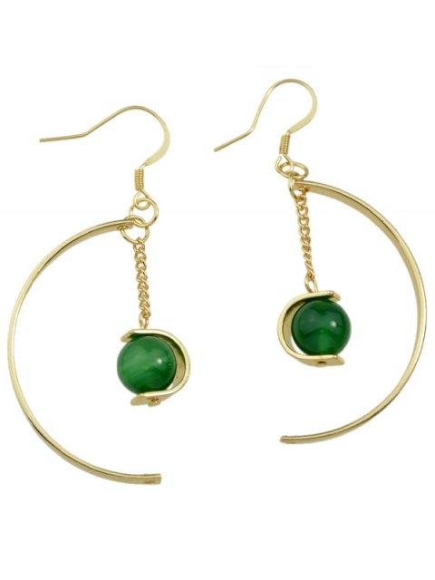Boucles d'oreilles de chaîne de perles articielles - Vert  Mobile