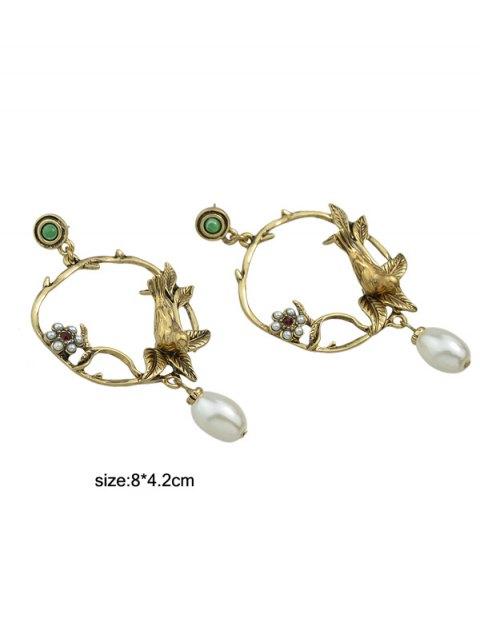 affordable Faux Pearl Flower Leaf Earrings - GOLDEN  Mobile