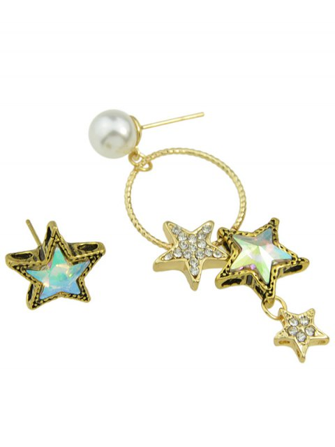 ladies Faux Pearl Asymmetric Star Earrings - GOLDEN  Mobile