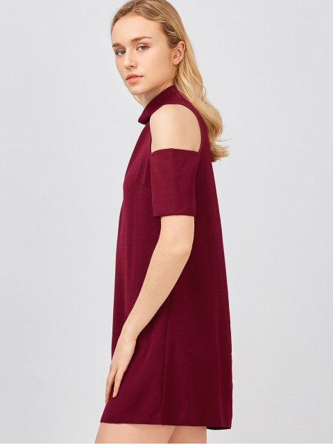 women Cold Shoulder Cut Out Trapeze Dress - WINE RED S Mobile
