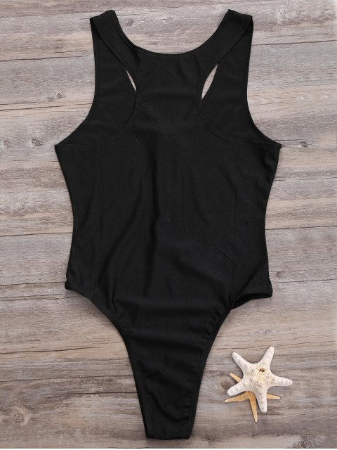 best Zipper High Leg One Piece Swimsuit - BLACK S Mobile