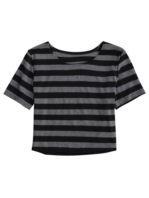fancy Fitted Striped Crop Top - BLACK AND GREY S Mobile