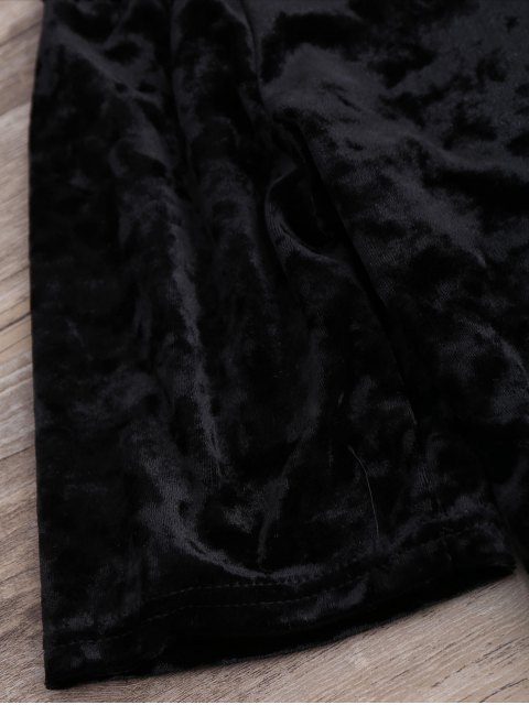 latest Crushed Velvet Off The Shoulder Top - BLACK S Mobile