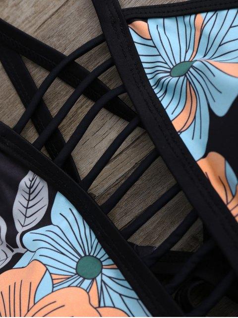outfits Loop Tie Side Floral Bikini Set - BLACK S Mobile