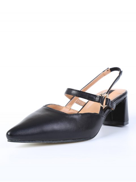 ladies Pointed Toe Chunky Heel Slingback Pumps - BLACK 38 Mobile