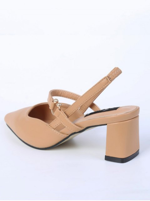new Pointed Toe Chunky Heel Slingback Pumps - APRICOT 38 Mobile