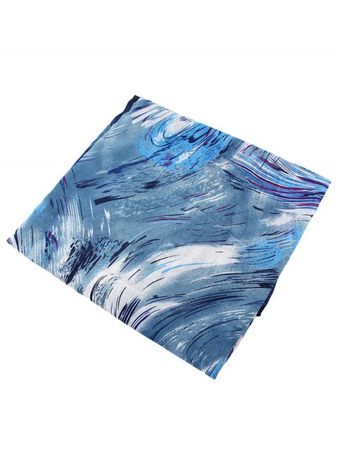 online Boho Abstract Line Print Wrap Scarf - BLUE  Mobile