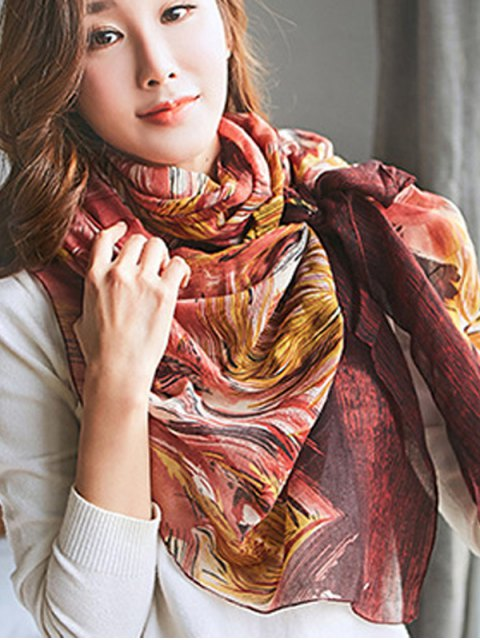 hot Boho Abstract Line Print Wrap Scarf - RED  Mobile