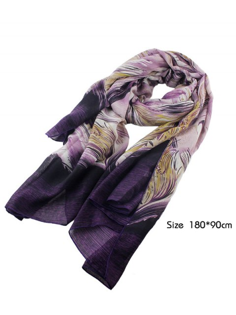 outfit Boho Abstract Line Print Wrap Scarf - PURPLE  Mobile