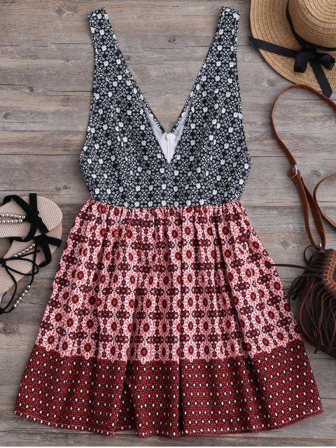 trendy Plunging Neck Printed Mini Dress - MULTICOLOR L Mobile