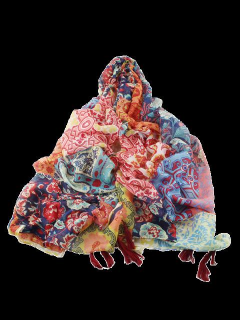 shop Ethnic Floral Printed Tassel Scarf - MULTICOLOR  Mobile