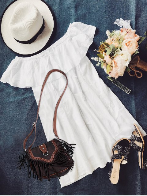 womens Frilly Off The Shoulder Dress - WHITE M Mobile
