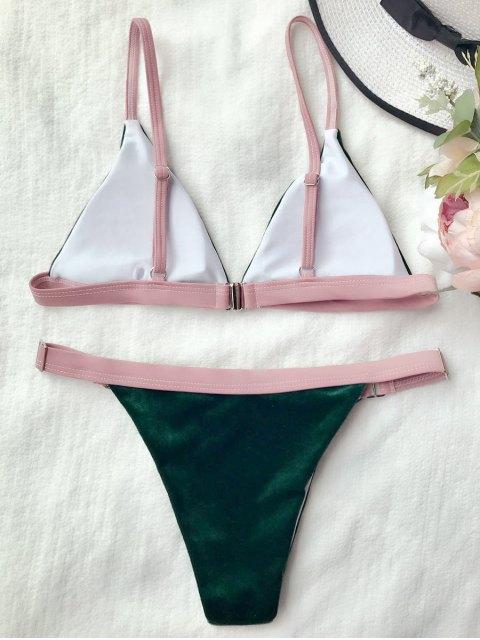 trendy Buckles Velvet High Cut Bikini - BLACKISH GREEN S Mobile