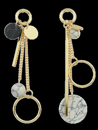 Circle Ball Bar Disc Asymmetric Earrings - Golden