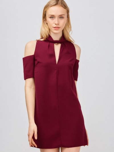 Cold Shoulder Cut Out Trapeze Dress - Wine Red