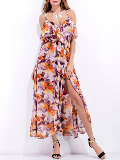 High Slit Ruffle Floral Holiday Dress - Purple