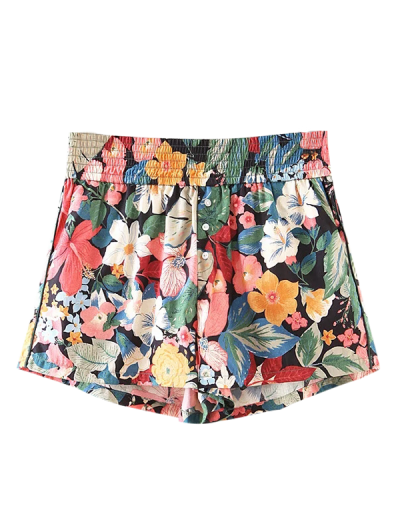 Button Embellished Tropical Floral Shorts - Floral