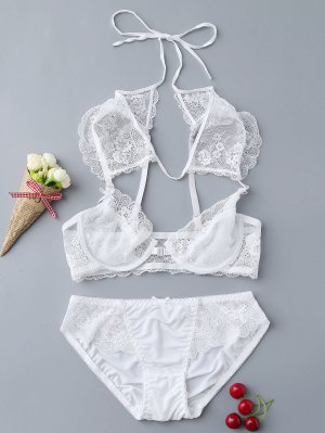 Unlined Cap Sleeve Lace Bra Set - White
