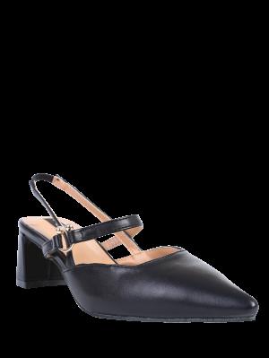 Pointed Toe Chunky Heel Slingback Pumps - Black
