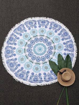 Couverture Mandala De Plage à Motifs Et Glands - Bleu
