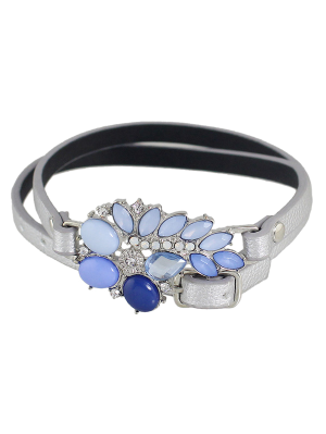 Faux Leather Gem Teardrop Bracelet - Silver