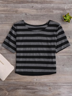 Fitted Striped Crop Top - Black And Grey