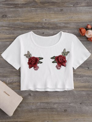 Floral Patches Ribbed Crop Top - Milk White