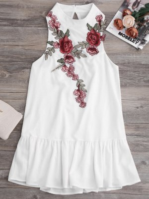 Patches Frill Hem Mini Dress - White