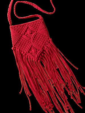 Fringe Ganchillo Bolso De Crossbody - Rojo